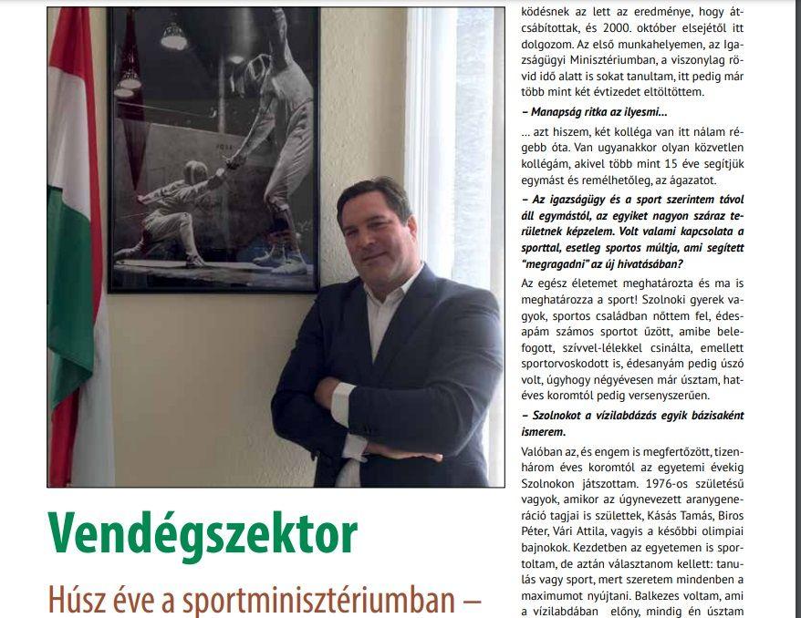 Beszélgetés dr. Fazekas Attila Erik helyettes államtitkárral a Magyar Edző című folyóiratban
